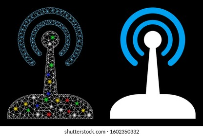 Glowing mesh radio joystick icon with glare effect. Abstract illuminated model of radio joystick. Shiny wire frame polygonal mesh radio joystick icon. Vector abstraction on a black background.