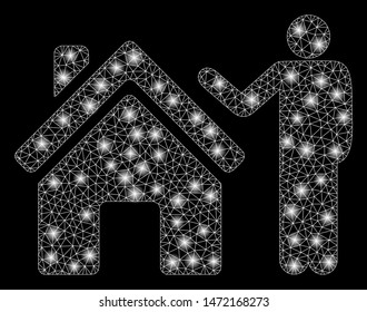 Glowing mesh realty buyer with glow effect. Abstract illuminated model of realty buyer icon. Shiny wire frame triangular mesh realty buyer. Vector abstraction on a black background.