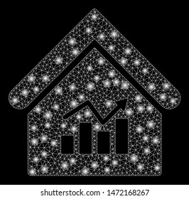 Glowing mesh realty charts with glow effect. Abstract illuminated model of realty charts icon. Shiny wire frame polygonal network realty charts. Vector abstraction on a black background.