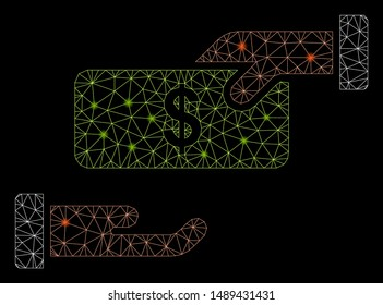 Glowing mesh rebate with glare effect. Abstract illuminated model of rebate icon. Shiny wire carcass polygonal network rebate. Vector abstraction on a black background.