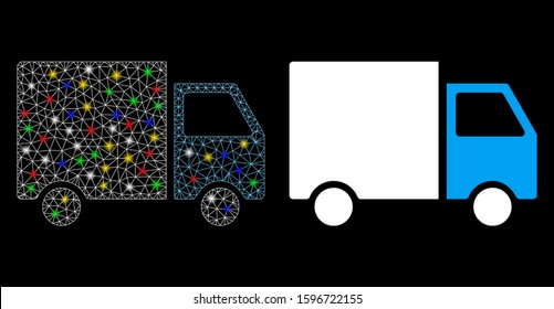 Glowing mesh shipment van icon with sparkle effect. Abstract illuminated model of shipment van. Shiny wire frame triangular network shipment van icon. Vector abstraction on a black background.