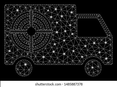 Glowing mesh shooting gallery truck with sparkle effect. Abstract illuminated model of shooting gallery truck icon. Shiny wire carcass polygonal mesh shooting gallery truck.