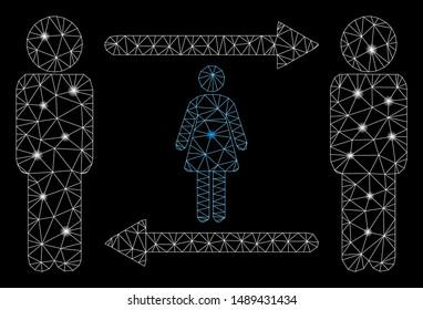 Glowing mesh swingers exchange girl with glitter effect. Abstract illuminated model of swingers exchange girl icon. Shiny wire carcass polygonal network swingers exchange girl.