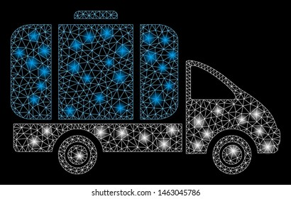 Glowing mesh tank truck with lightspot effect. Abstract illuminated model of tank truck icon. Shiny wire carcass polygonal mesh tank truck. Vector abstraction on a black background.