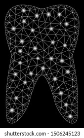 Glowing mesh tooth with glare effect. Abstract illuminated model of tooth icon. Shiny wire frame polygonal mesh tooth. Vector abstraction on a black background.