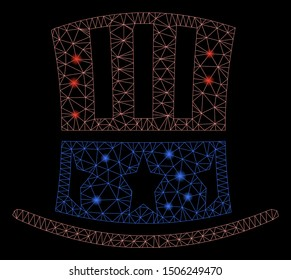 Glowing mesh Uncle Sam hat with sparkle effect. Abstract illuminated model of Uncle Sam hat icon. Shiny wire frame polygonal mesh Uncle Sam hat. Vector abstraction on a black background.