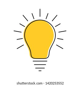 Glowing modern yellow light bulb thin line icon. Idea and creativity symbol isolated on white background.