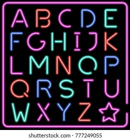 Glowing multicolor vector neon typeface. Art brush is included. Easy to create new  shapes and letters.