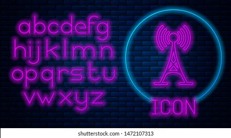 Glowing neon Antenna icon isolated on brick wall background. Radio antenna wireless. Technology and network signal radio antenna. Neon light alphabet. Vector Illustration