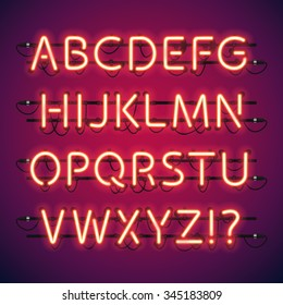 Glowing Neon Bar Alphabet. Used pattern brushes included. There are fastening elements in a symbol palette.