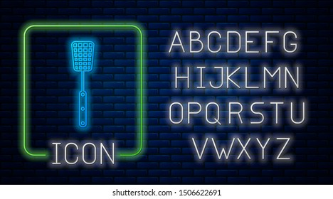 Glowing neon Barbecue spatula icon isolated on brick wall background. Kitchen spatula icon. BBQ spatula sign. Barbecue and grill tool. Neon light alphabet. Vector Illustration