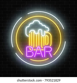 Glowing neon beer pub signboard in circle frames on dark brick wall background. Luminous advertising sign of night club with bar. Vector illustration.