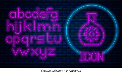 Glowing neon Bioengineering icon isolated on brick wall background. Element of genetics and bioengineering icon. Biology, molecule, chemical icon. Neon light alphabet. Vector Illustration