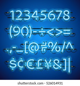 Glowing Neon Blue Numbers. Used pattern brushes included. There are fastening elements in a symbol palette.
