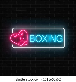 Glowing neon boxing club sign in rectangle frame on dark brick wall background. Fighting club neon signboard. Nightlife advertising symbol of sport facility on boxing theme . Vector illustration.