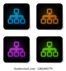Glowing neon Business hierarchy organogram chart infographics icon isolated on white background. Corporate organizational structure graphic elements. Black square button. Vector Illustration