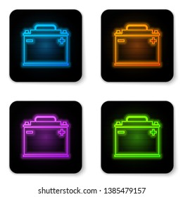 Glowing neon Car battery icon isolated on white background. Accumulator battery energy power and electricity accumulator battery. Black square button. Vector Illustration
