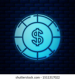 Glowing neon Casino chip with dollar symbol icon isolated on brick wall background. Casino gambling.  Vector Illustration