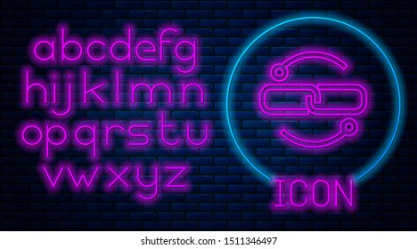 Glowing neon Chain link line icon isolated on brick wall background. Link single. Neon light alphabet. Vector Illustration