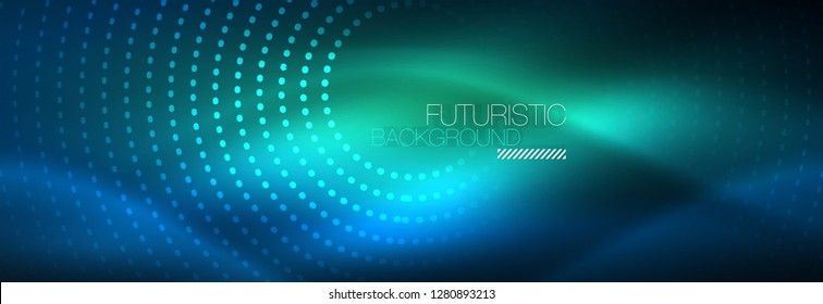 Glowing neon circle line dots, round line design, abstract style on black background. Neon abstract round circles Magic neon lights and glowing dots. Vector illustration