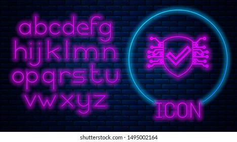 Glowing neon Cyber security icon isolated on brick wall background. Shield with check mark sign. Safety concept. Digital data protection. Neon light alphabet. Vector Illustration
