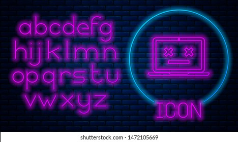 Glowing neon Dead laptop icon isolated on brick wall background. 404 error like laptop with dead emoji. Fatal error in pc system. Neon light alphabet. Vector Illustration