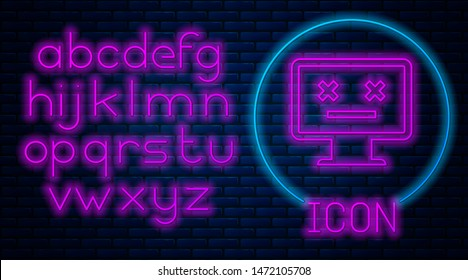 Glowing neon Dead monitor icon isolated on brick wall background. 404 error like pc with dead emoji. Fatal error in pc system. Neon light alphabet. Vector Illustration
