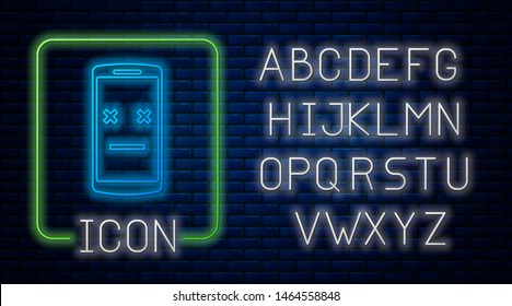 Glowing neon Dead phone icon isolated on brick wall background. Deceased digital device emoji symbol. Corpse smartphone showing facial emotion. Neon light alphabet. Vector Illustration