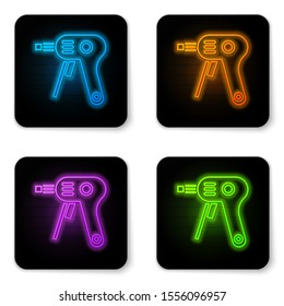 Glowing neon Electric hot glue gun icon isolated on white background. Hot pistol glue. Hot repair work appliance silicone. Black square button. Vector Illustration
