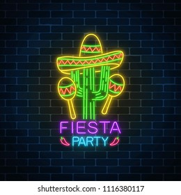 Glowing neon fiesta holiday sign on dark brick wall background. Mexican festival flyer design with maracas, sombrero hat and cactus. Vector illustration.