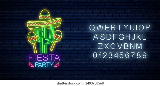 Glowing neon fiesta holiday sign with alphabet on dark brick wall background. Mexican festival flyer design with maracas, sombrero hat and cactus. Vector illustration.