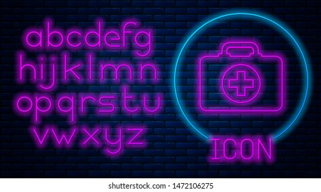 Glowing neon First aid kit icon isolated on brick wall background. Medical box with cross. Medical equipment for emergency. Healthcare concept. Neon light alphabet. Vector Illustration