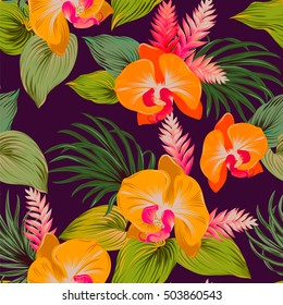 glowing neon fluoprescent design with natural orchids. Detailed editable vector illustration. Orange exotic flowers on dark background.