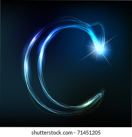 Glowing neon font. Shiny letter C