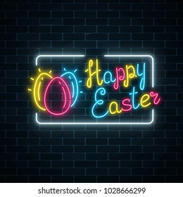 Glowing neon happy easter signboard with eggs and lettering on dark brick wall background. Easter funny greeting banner. Vector illustration.