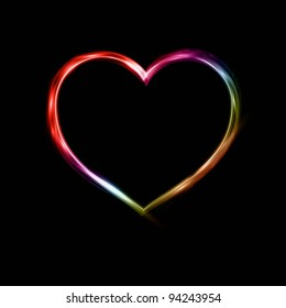 Glowing neon heart background