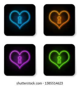 Glowing neon Heart with keyhole icon isolated on white background. Locked Heart. Love symbol and keyhole sign. Black square button. Vector Illustration