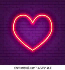 Glowing neon heart vector illustration on violet brick wall