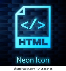 Glowing neon HTML file document icon. Download html button icon isolated on brick wall background. HTML file symbol. Markup language symbol. Vector Illustration