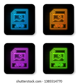 Glowing neon JPG file document icon. Download image button icon isolated on white background. JPG file symbol. Black square button. Vector Illustration
