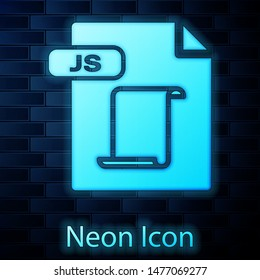 Glowing neon JS file document. Download js button icon isolated on brick wall background. JS file symbol.  Vector Illustration
