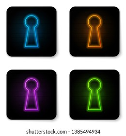 Glowing neon Keyhole icon isolated on white background. Key of success solution. Keyhole express the concept of riddle, secret, peeping, safety, security. Black square button. Vector Illustration