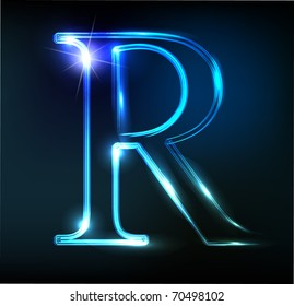 Glowing neon letter on dark background. Letter R.