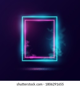 Glowing neon lighting frame with cyan and pink background.
