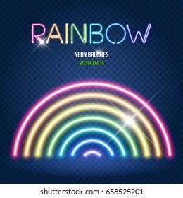 Glowing neon lights brushes in rainbow colors on dark transparent background. Easy to change global colors, brushes placed in Brushes Panel and can be used for custom project, Vector EPS 10