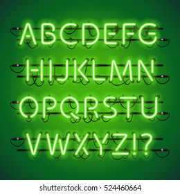 Glowing Neon Lime Green Alphabet. Used pattern brushes included. There are fastening elements in a symbol palette.
