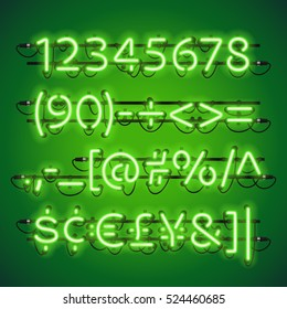 Glowing Neon Lime Green Numbers. Used pattern brushes included. There are fastening elements in a symbol palette.