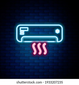Glowing neon line Air conditioner icon isolated on brick wall background. Split system air conditioning. Cool and cold climate control system. Colorful outline concept. Vector