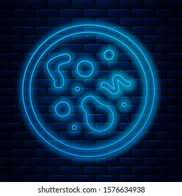 Glowing neon line Bacteria icon isolated on brick wall background. Bacteria and germs, microorganism disease causing, cell cancer, microbe, virus, fungi.  Vector Illustration