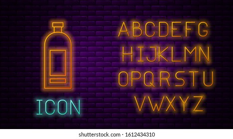 Glowing neon line Bottle of shampoo icon isolated on brick wall background. Neon light alphabet. Vector Illustration
